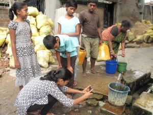 14-year-old Shikha Patra and her friends conduct a water survey to document the lack of clean drinking water in their community. (Photo: Rhitu Chatterjee)