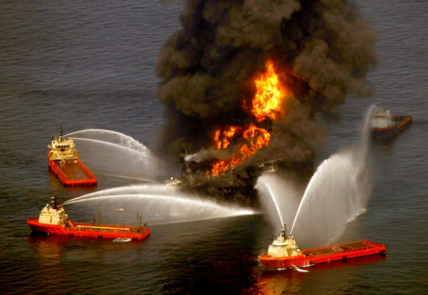 Fireboats try to extinguish the blaze on the Deepwater Horizon oil rig south of Venice after an explosion on Wednesday, April 21, 2010. The explosion killed 11 workers on the rig. (Photo by Michael DeMocker, NOLA.com | The Times-Picayune)