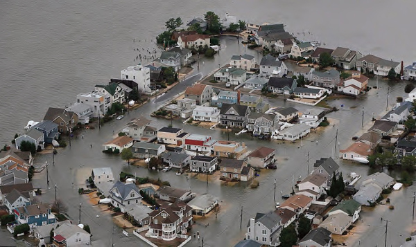 On the day after the hurricane, the flooded Chadwick Beach Island development on the N.J. shore north of Seaside Heights looks more like Venice, as witnessed by Governor Chris Christie during a damage inspection flight. (Photo by Tim Larsen, New Jersey Governor's Office.)