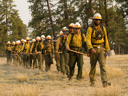 Firefighters march into the Gila during the Whitewater-Baldy fire of 2012. Courtesy Gila National Forest.