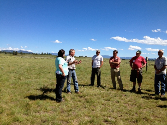 Jim Stone talks with journalists about management practices on Rolling Stone Ranch in the Blackfoot Valley.
