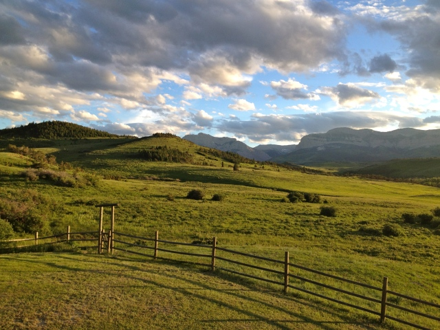 View from the deck of the Theodore Roosevelt Memorial Ranch, looking west into the Bob Marshall Wilderness.
