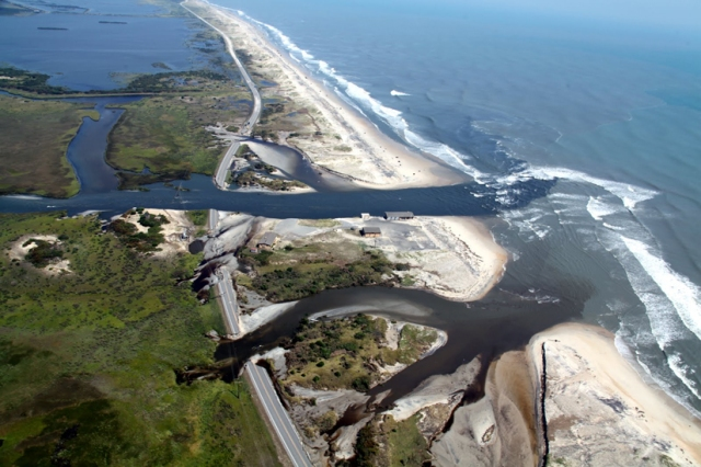 Highway 12 on North Carolina's Outer Banks, washed out following Hurricane Irene in 2011. Photo by Tom Mackenzie, USFWS