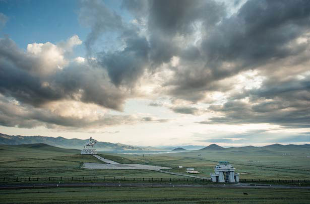An hour's drive east of the city of Ulaanbaatar, a steel statue of Mongolia's legendary warrior Genghis Khan rises 131 feet above the country's 68 million-acre grassland steppe. © Nick Hall