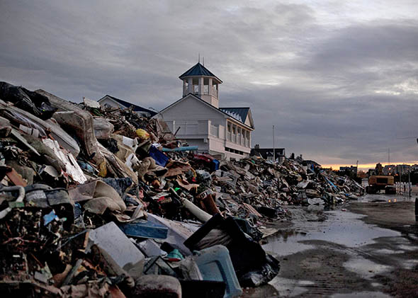 Debris from Superstorm Sandy is seen on a beach November 8, 2012 in Long Branch, New Jersey. (Photo by ALlison Joyce/Getty Images)
