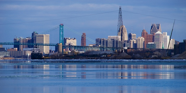 The Detroit River and downtown skyline. Photo courtesy Flickr user rexp2